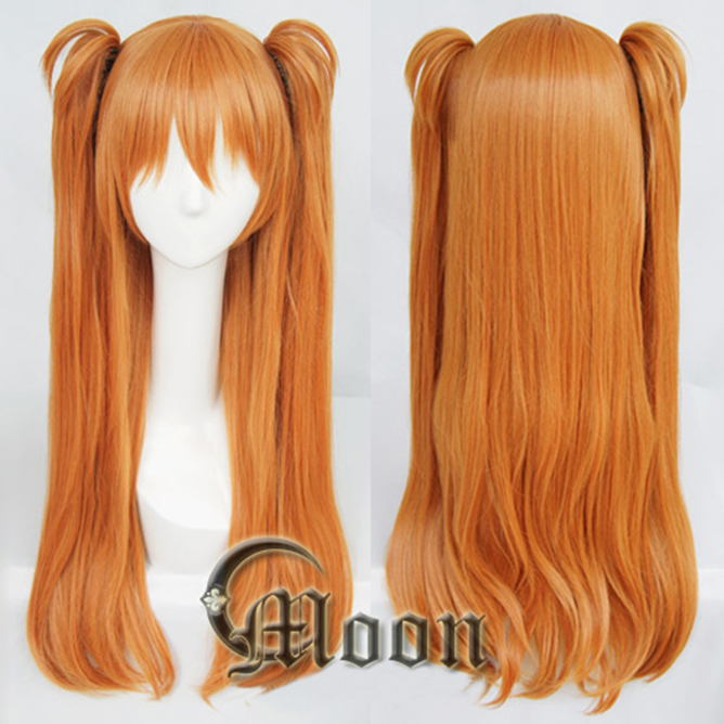 Cosplay Costume Hair Asuka 2-Ponytail-Clips Orange Langley Wig Soryu EVA Heat-Resistant