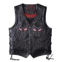 2019 Black Men Skulls Embroidery Motorcycle Leather Vest Plus Size XXXL Genuine Cowhide Short Biker's Leather Vest FREE SHIPPING