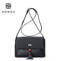 Hongu Light Luxury Genuine Leather Bag Female Women Handbag Messenger Bag Lady Tassel Flap Crossbody Shoulder