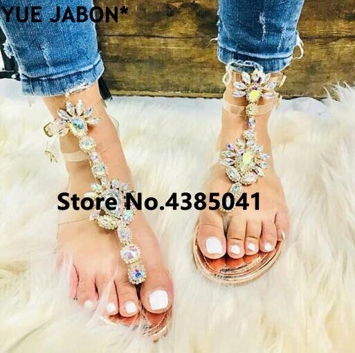 HTB1iWlzjrZnBKNjSZFhq6A.oXXad 2019 shoes woman sandals women Rhinestones Chains Flat Sandals Thong Crystal Flip Flops sandals gladiator sandals 43 free ship