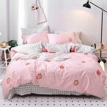 Pink Cute Strawberry Duvet Cover Set 100% Cotton Brief Plaid Bed Sheet Pillow Case Twin Queen Size Bedding Sets For Adults