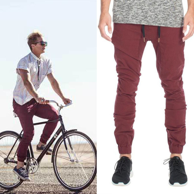 Hombres Jogger Casual Pantalones Elástico Cuff Biker Jogging Pant GPTyBjOf