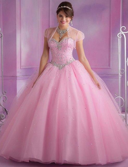 Mais recente projeto de alta qualidade Organza princesa vestidos Quinceanera com jaqueta de 15 anos querida frisada corpete