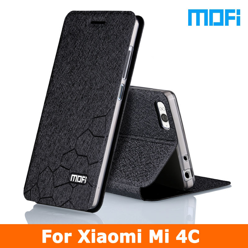 2016 New For Xiaomi Mi 4C Flip leather cover TPU soft case Stand holder 5 0