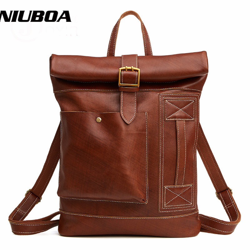 NIUBOA Genuine Leather Man Backpacks Fashion New 100% Cowhide Backpack Brown Solid High Quality Casual Leather Shoulder Pack Bag niuboa 100