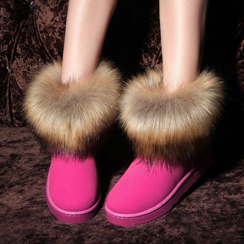Bottes de neige pour femmes hiver femme troupeau cheville élégant Sexy doux renard cheveux australie Style garder au chaud court peluche symbole de noblesse