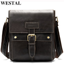 WESTAL High Discount Bag Men's Genuine Leather Hasp& Zipper Messenger Bag Men Leather for ipad Men's Shoulder Bags Male Bags(China)