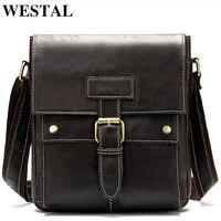 WESTAL High Discount Bag Men's Genuine Leather Hasp& Zipper Messenger Bag Men Leather for ipad Men's Shoulder Bags Male Bags