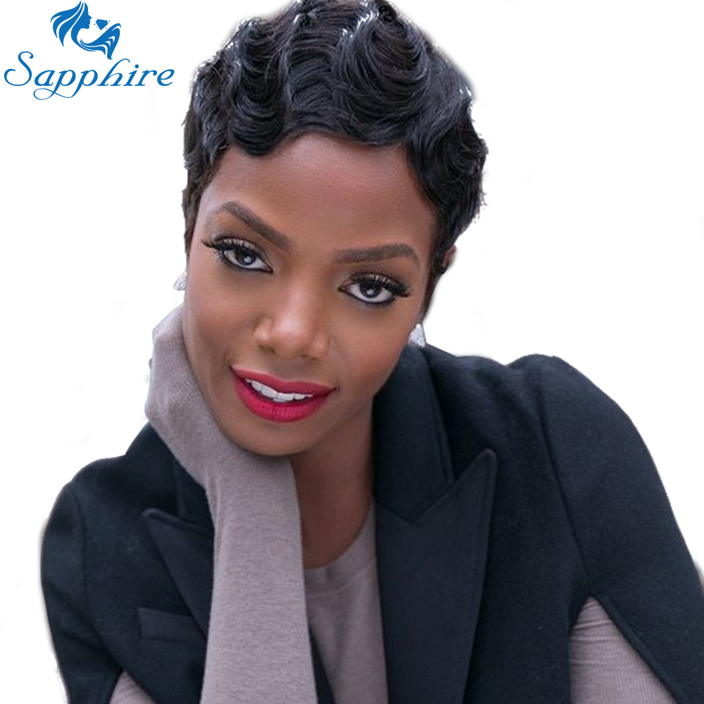 Sapphire Short Human Hair Wigs For Black Women Non Lace Front Wig Brazilian Wigs Remy Hair