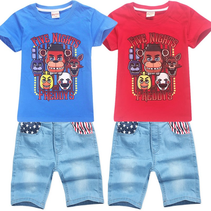 Tracksuit Girls Sports Suits Kids Clothes Short T shirt and pant Sets Children Boys Cartoon Five night at freddy Clothing Sets
