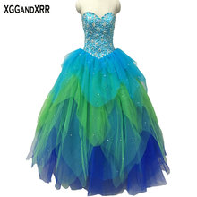 XGGandXRR Tulle Ball Gown Quinceanera Dresses Floor Length