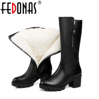 FEDONAS Fashion Women Genuine Leather Boots Thick Wool Winter Warm Shoes Woman Snow Boots Mid Calf