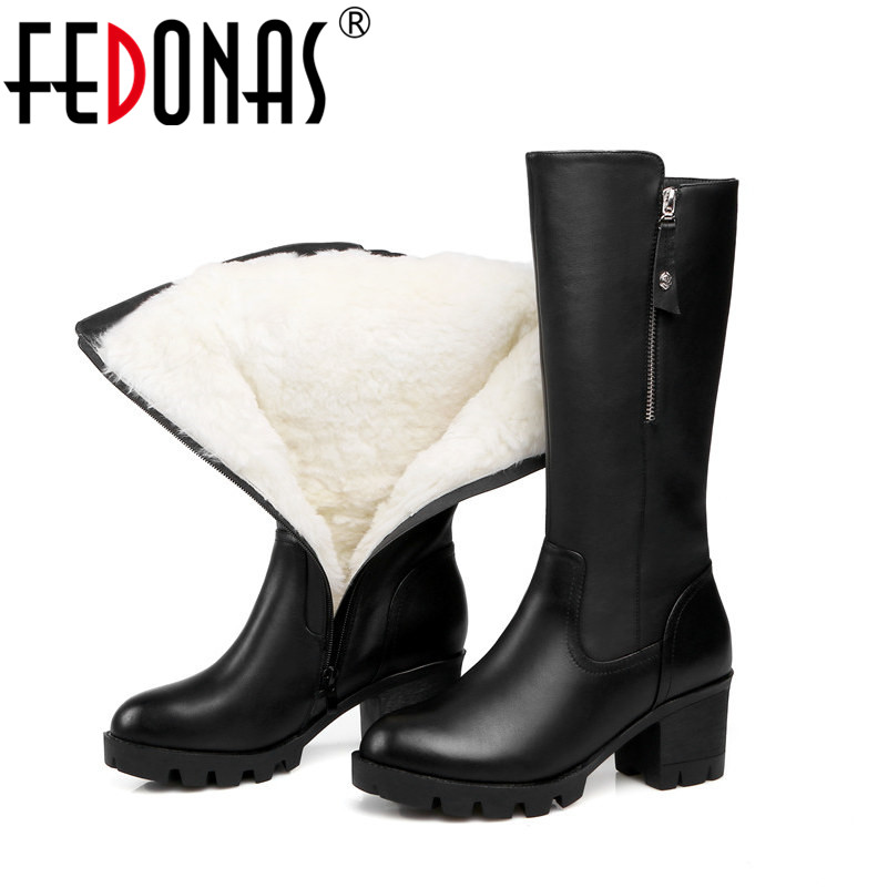 FEDONAS  Women Genuine Leather Boots Thick Wool Warm Shoes For Women Snow Boots Mid-calf High Heels Platforms Boots Shoes