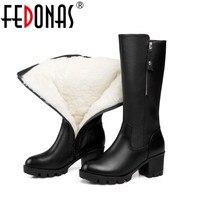 Fedonas أزياء النساء جلد طبيعي الأحذية الصوف السميك الشتاء الدافئة أحذية امرأة أحذية الثلوج منتصف العجل منصات الأحذية