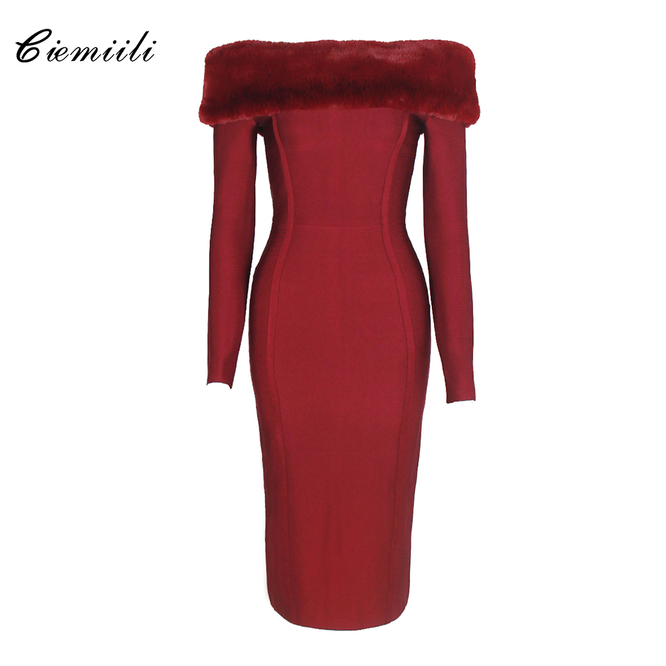 CIEMIILI Slash Neck Full Sleeves Bodycon Knee Length Bandage 2018 Celebrity Noble Vestidos Hidden Breasted New Party Women Dress