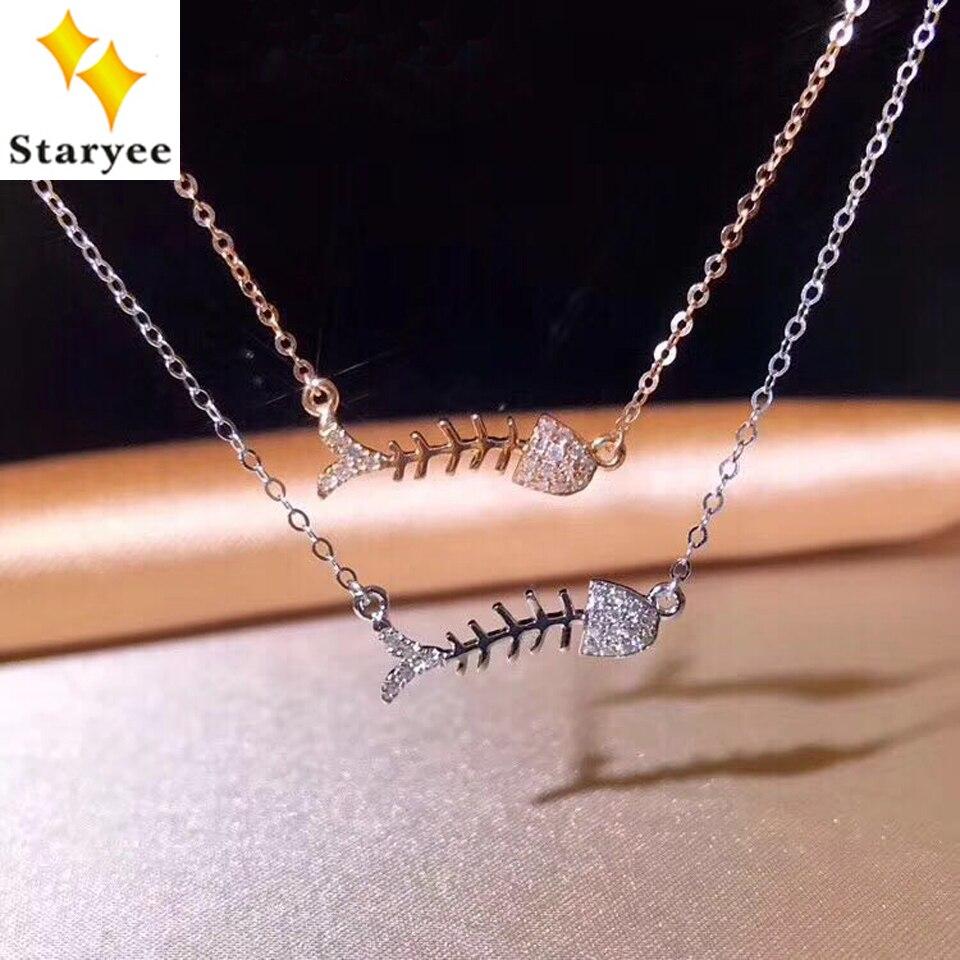STARYEE Симпатичные рыбья кость кулон ожерелья для Для женщин Настоящее 18 К Au750 розовое золото 0.08CT против г природных алмазов тонкой ювелирные