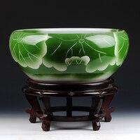 Jingdezhen ceramics manual lotus big goldfish turtle lotus Narcissus pot decoration large cylinder