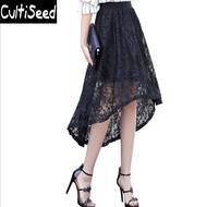 Female Lace Skirts 2018 Lady Elegant Office Work Elastic Waist Asymmetrical Ball Gown Hollow Out Lace Long Skirts Clothes