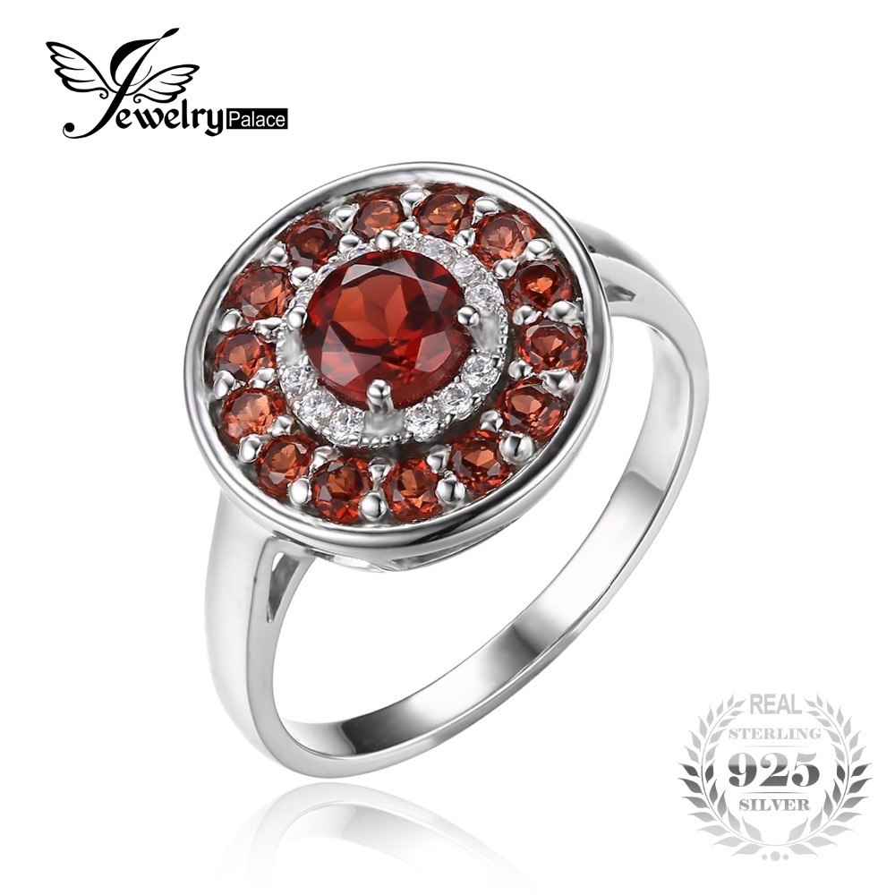 Jewelrypalace Round 1 2ct Red Genuine Garnet Cocktail Anniversary Ring 925 Sterling Silver 2016 Fashion Fine
