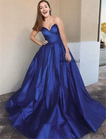 Wonderful Royal Blue Princess Evening Dress Sleeveless Sweetheart Long Formal Occasion Dresses Custom Made 2019 Robe De Soiree
