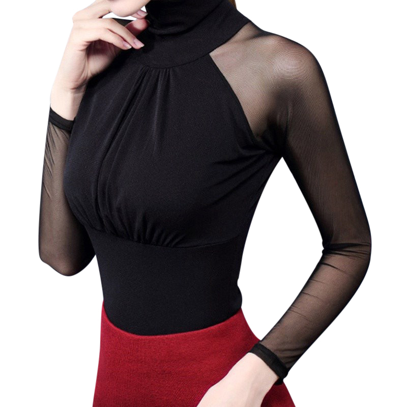 Sexy Women High Neck Long Sleeve   Blouses     Shirts   See-through Mesh Sheer Patchwork Blusas Tops Slim Party   Blouse   Tops Femme Blusas