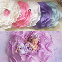 Flower Felt Newborn Photography Props Flokati Flower Shaped Posing Baskets Background Baby Photoshoot Accessories Wool Blanket Z