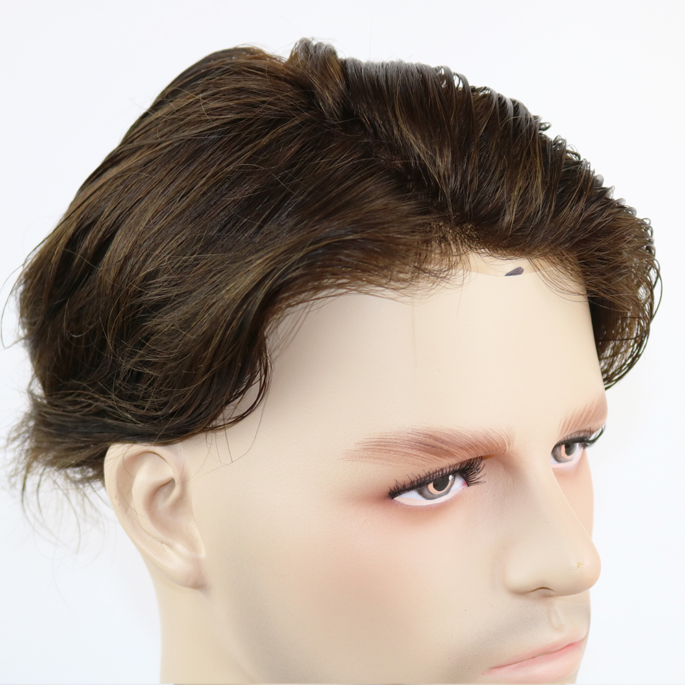SimBeauty 100% Natural Remy Human Mens Toupee Mono Certered And Thin Skin Pu Around Mens Wig System Hair Replacement Toupee