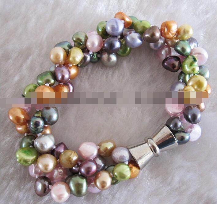 433 7-8mm Multi Couleur 3Row D'eau Douce Perle Bracelet Bijoux