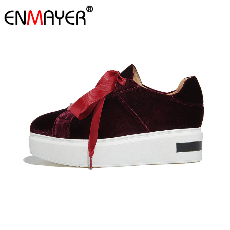 ENMAYER Flat Platform Lace-Up Round Toe Black Shoes Women Chic Style 2017 Hot Fashion Style Spring/Autumn Women Flats for Party mcckle 2017 fashion woman shoes flat women platform round toe lace up ladies office black casual comfortable spring