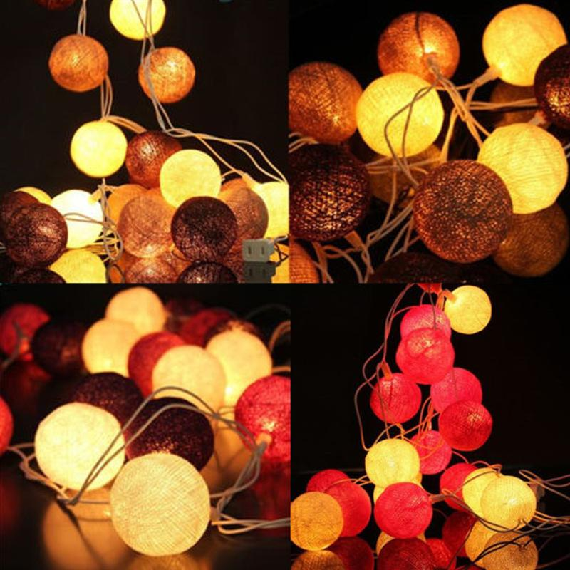 20-LED Power String Fairy Lights Fabric Cotton Ball Wedding Festival Holiday Party Decoration Lamp Bulb With US/EU-Plug