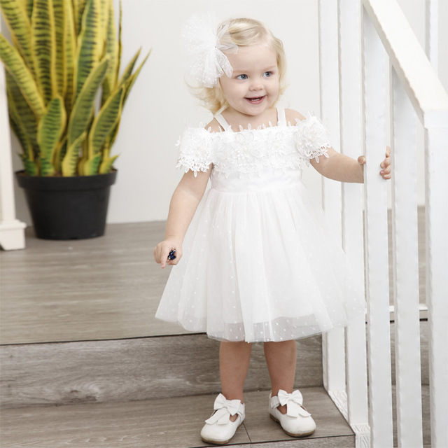 White Wedding Dress For Toddlers Summer Cute Kids Shoulderless