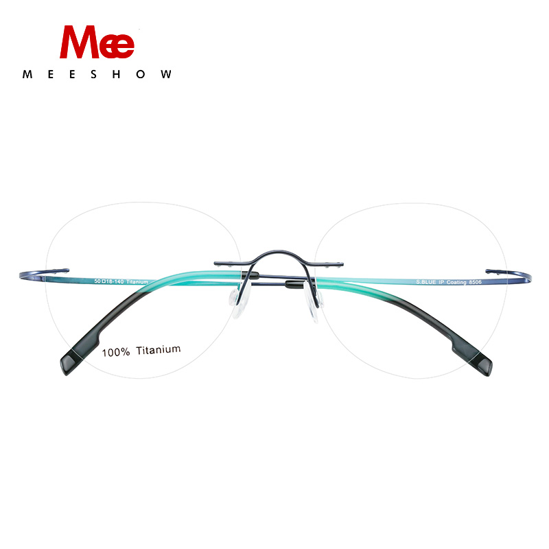 Titanium prescription glasses Rimless Men's glasses with diopter women round eyeglasses myopia optical  men spectacle frame 8506