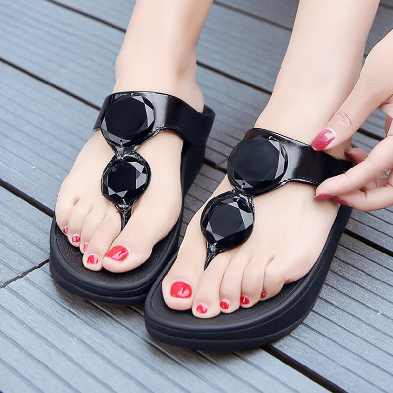 TIMETANGflip-flops Summer rhinestone wedge heel thick bottom beach women's slippers Non-slip platform shoes Casual woman sandals