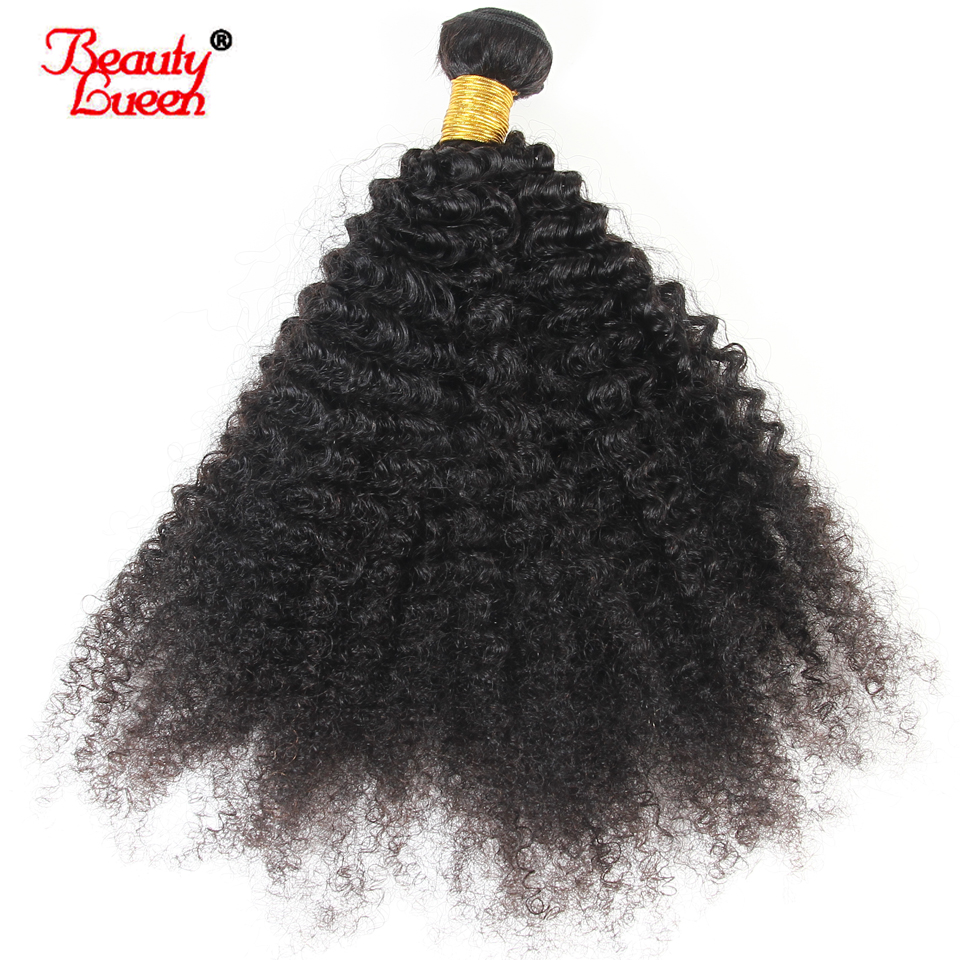 Mongolian Afro Kinky Curly Weave 100% Human Hair Extensions 4B 4C Hair 1 Bundle Natural Black 10-22 inch Non Remy Beauty Lueen