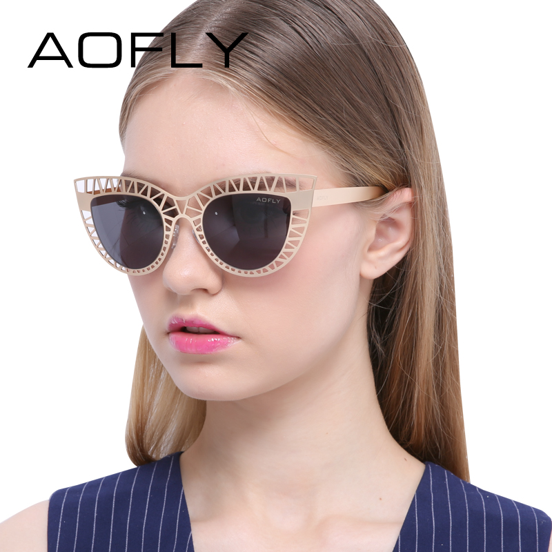 AOFLY Brand Sunglasses Fashion Lady Vintage Cat Eye Sunglasses Female Hollow out Mirror Sun glasses for