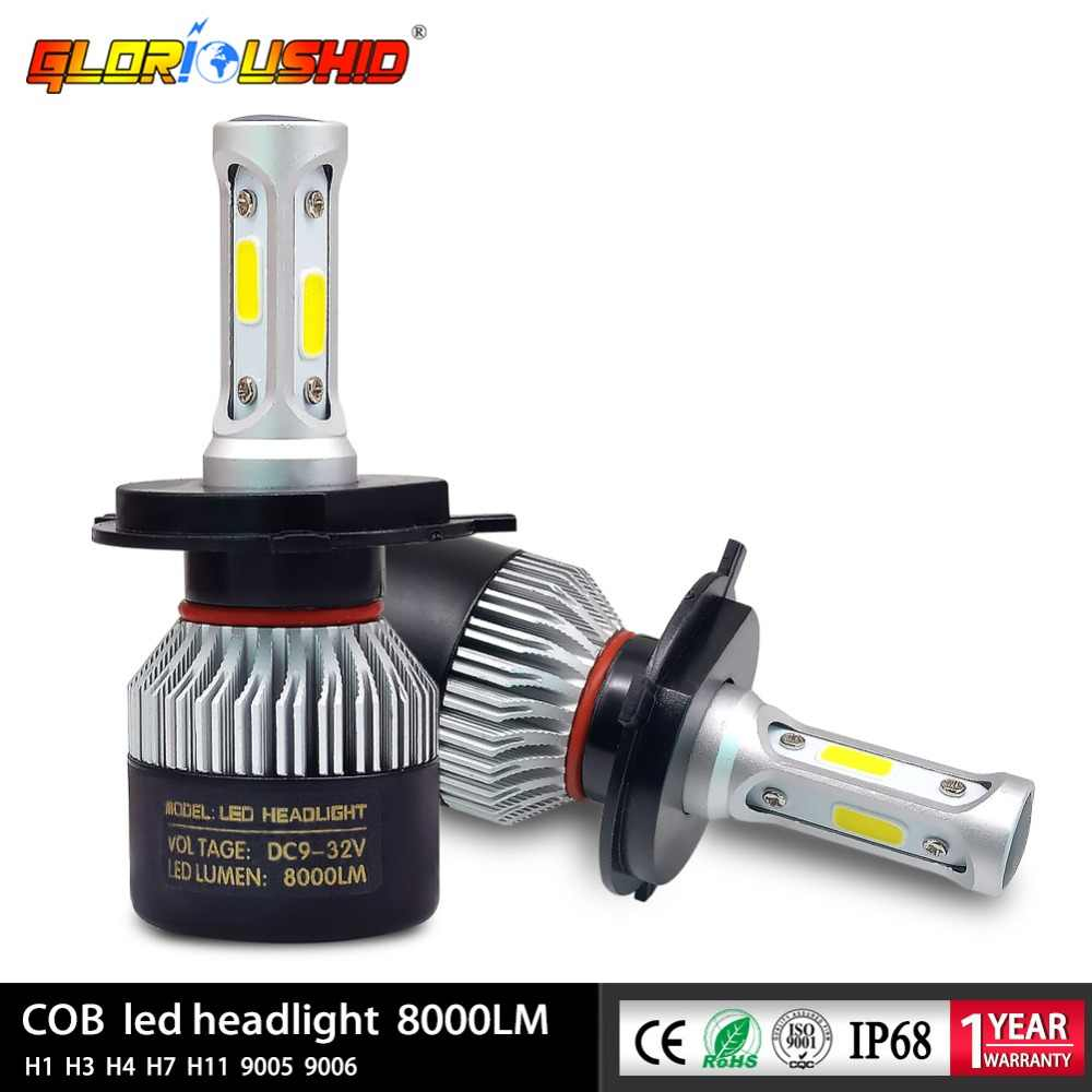 2pcs H7 Led H4 H1 H3 H11 H8 H9 9005 HB3 9006 HB4 Car Headlight Auto Front fog light Bulb Automobile Lamp 72W 8000lm 6500k