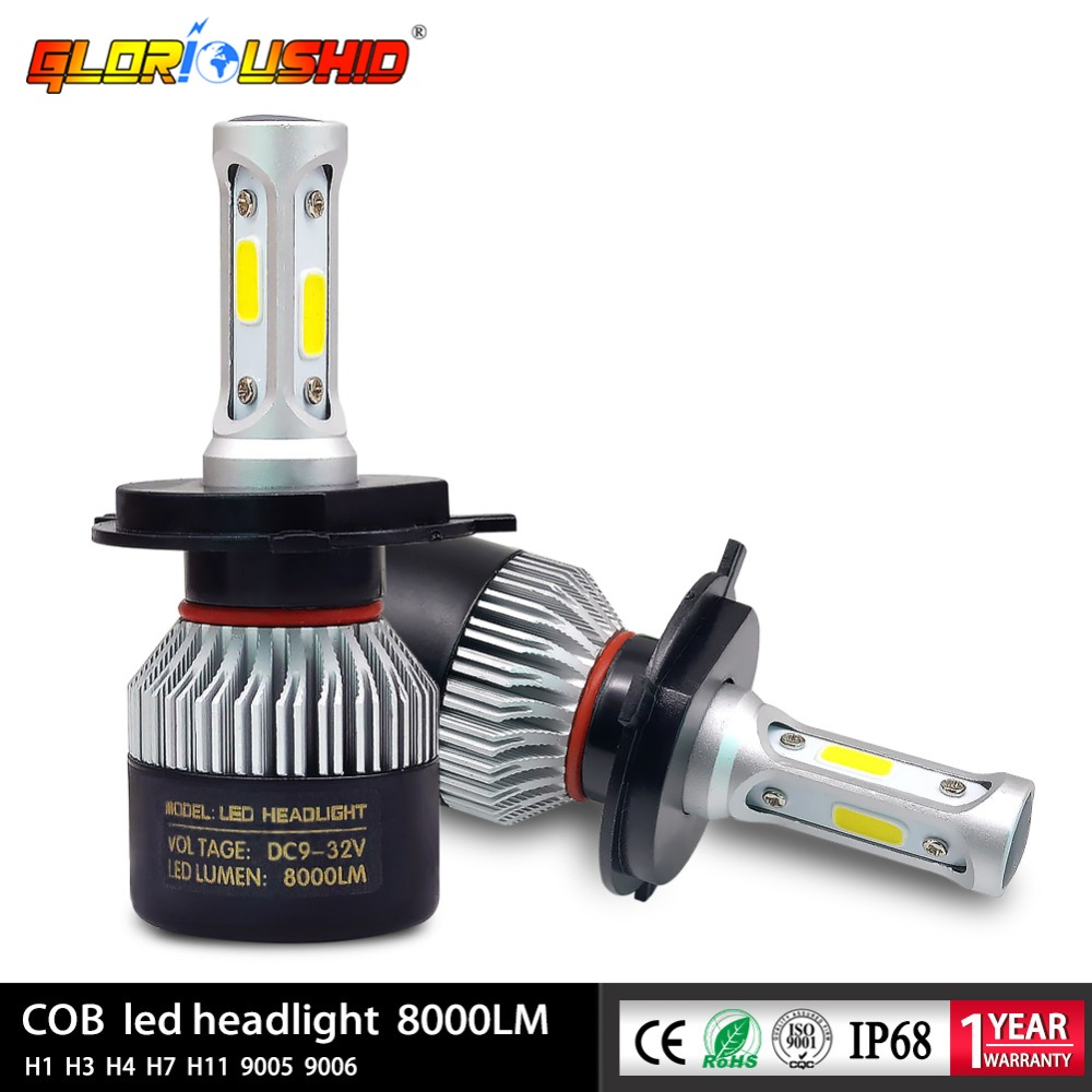 2 pcs H7 Led H4 H1 H3 H11 H8 H9 9005 HB3 9006 HB4 Lampu Mobil Auto lampu kabut Depan Bulb Lampu Mobil 72 W 8000lm 6500 k
