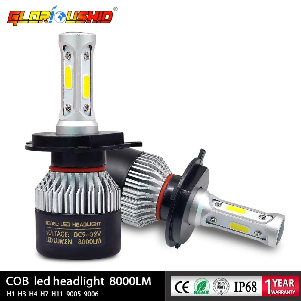 2st H7 Led H4 H1 H3 H11 H8 H9 9005 HB3 9006 HB4 Bilstrålkastare Auto främre dimljus Lampa Automobile lampa 72W 8000lm 6500k