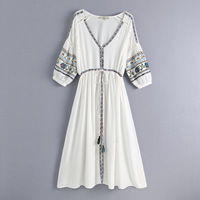 2019 spring and summer European and American women's new V neck embroidered long dress