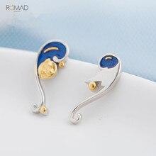 Romad Vintage Enamel Earrings 925 Silver Van Goghs Glitter Gold Moon Star Stud Bohemian Wedding Earring For Women W3