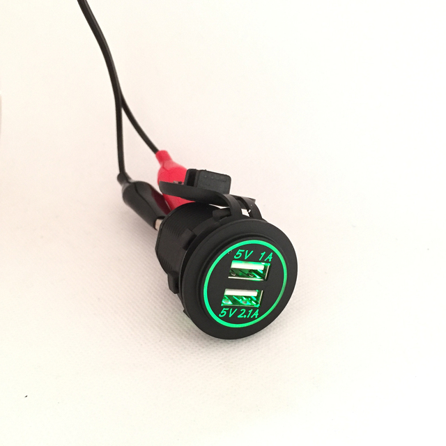 DIY 12 V-24 V Dual USB cargador de coche toma de corriente 1A y 2.1A para Ipad Iphone coche barco móvil marino LED azul rojo verde naranja