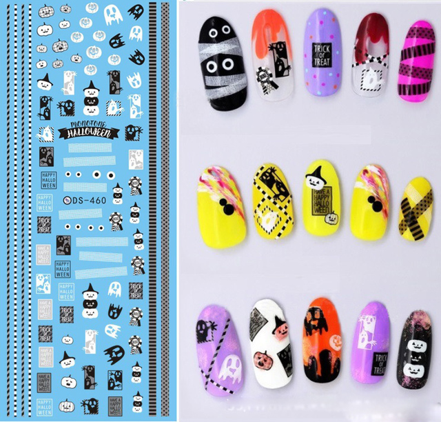 NEW Halloween DS460 Cute Pumpkins Water Transfer Nails Art Sticker Decal  Lovely Eyes Ghost Black White