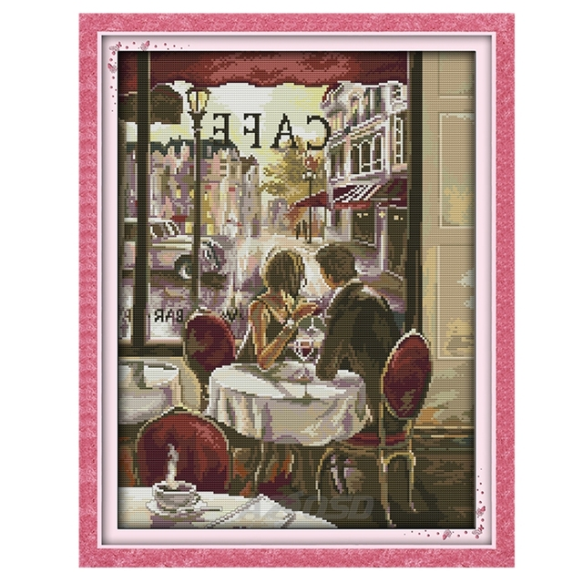 New Cross Stitch kit Coffee lovers printing on canvas DMC 14CT 11CT full embroider needlework Set Romantic home decoration r519
