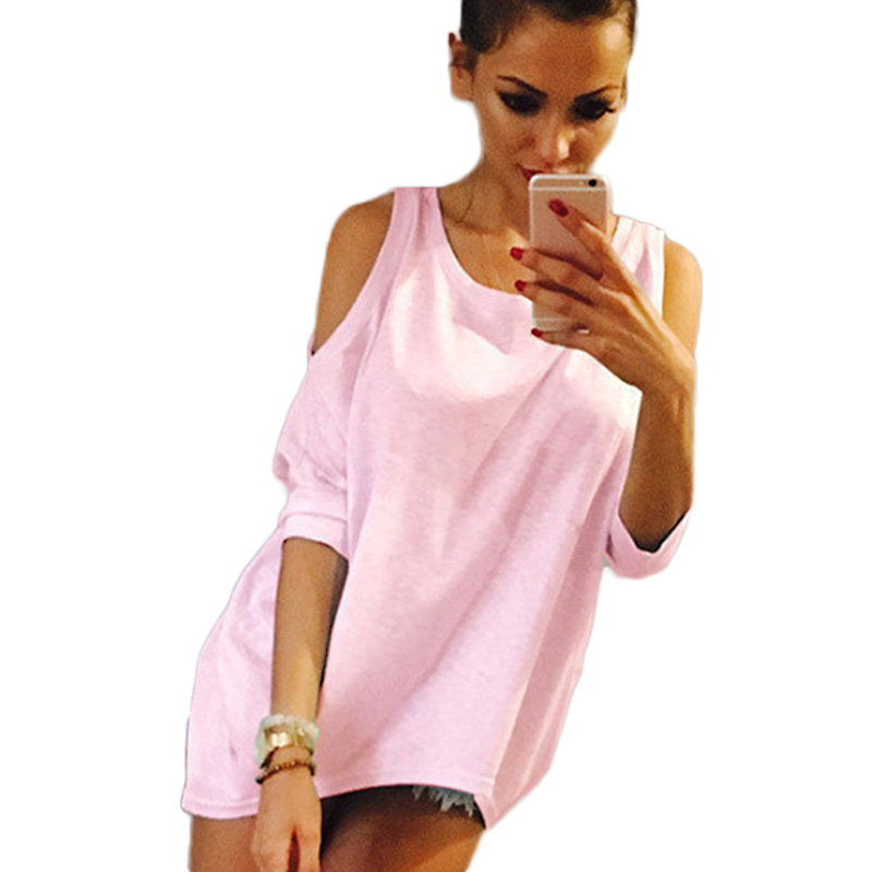 Summer Women T-Shirt O-Neck Solid Color Off Shoulder Sexy Long T Shirt Womens Top Tees Loose Casual T-shirt Plus Size sexy u neck cold shoulder solid color t shirt for women