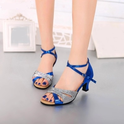 Women Latin Salsa Ballroom Dance Shoes Girls/Ladies Samba ChaCha Tango Indoor Soft SoleDancing Shoes Sandal Mid-Heel 5.5cm 1884