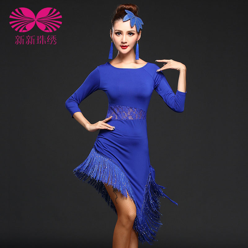 Elegant Sexy Unequal Women Girls Sequin Fringe Tassel Skirt Ladies Latin Tango Ballroom Salsa Dance Dress
