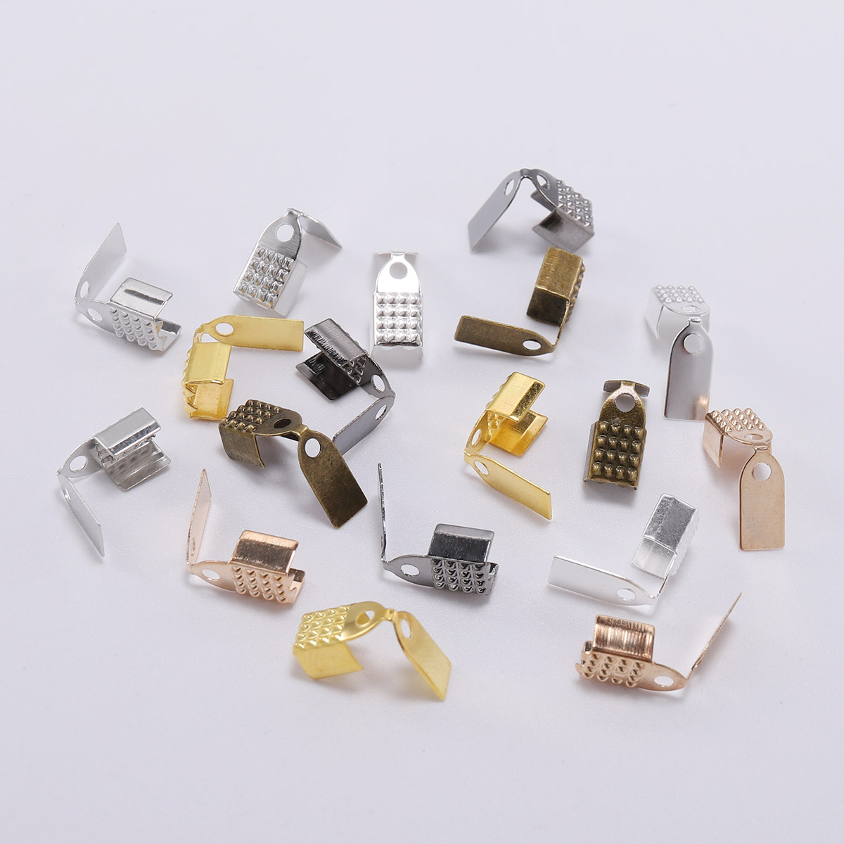 100pcs 4 5 6mm leather Fold Over Cord Crimp Beads End Caps Fastener Bracelet Necklace Connectors For DIY Jewelry Making Supplies in Jewelry Findings Components from Jewelry Accessories