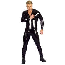 Plus Size Mens Fetish Latex Men Full Sleeved Tight Thin Bodysuit Catsuit Club Hot Dance Outfit Stripper Clothing S-3XL