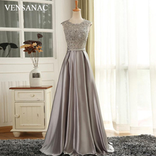 VENSANAC 2018 O Neck A Line Lace Long Evening Dresses Elegant Party Appliques Crystal Bow Sash Backless Prom Gowns