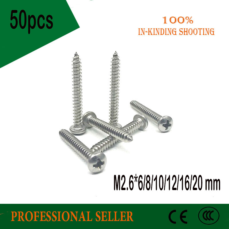 50pcs <font><b>M2.6</b></font>*6/8/10/12/16/20 mm GB845 Laptop Computer <font><b>Screws</b></font> phillips stainless steel 304 pan head head Self Tapping <font><b>Screws</b></font> image
